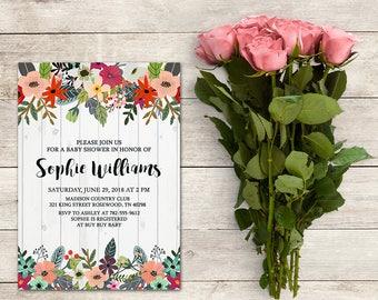 Baby Shower Invitation, Garden Theme, Garden Party, Colorful Floral Invitation, Rustic Invitation, Spring Invitation, Printable No. 1030