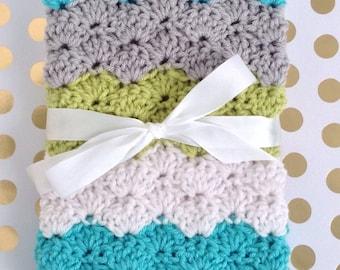 Crochet Baby Blanket - Baby Afghan - Baby Blanket Crochet - Baby Boy - Baby Girl - Baby Shower Gift - Keepsake - Aqua Green Grey White