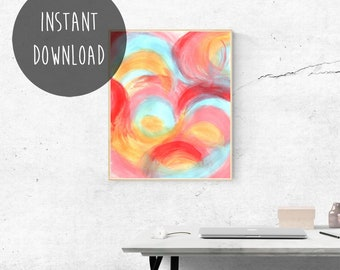 Rainbow Printable, Abstract Painting, Above Bed Decor, Summer, Bright Wall Art, Colorful Art, Happy Art, Abstract Instant Download, Pride.