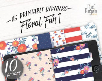 Franklin Covey Divider for A5, Printable Dashboard Download, Watercolor Planner Divider Printable Top Tab Divide Filofax A5 Dividers Flower