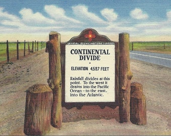 1930's New Mexico Postcard Continental Divide