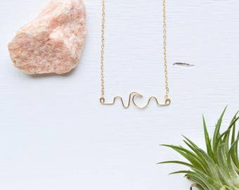 Wave Necklace|Jewelry|Sterling Silver|Gold fill|Beach|Ocean|Gift Ready