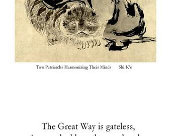Zen Poster - The Great Way is Gateless - Meditation quote - Enlightenment - Spiritual awakening