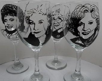 Hand painted glasses, wine glasses, Golden Girls