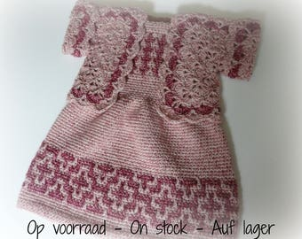 Crocheted Baby Set: Dress + Bolero Pink Mosaic