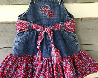 Upcycled Baby Overalls    12 months   Osh Kosh Overalls   Overall Dress