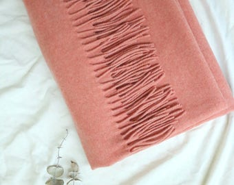 Rosewood Scarf- lambswool scarf with fringe trims