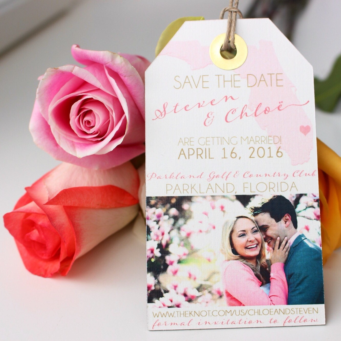 Wedding Invitation Save the Date Luggage Tag Magnet with your