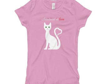 White Autisticat is Love on The Next Level Princess Tee for Children