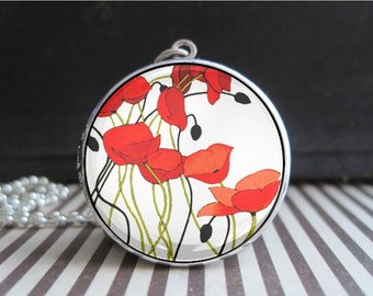 Red Poppies Locket Poppy Art Photo Picture Pendant Necklace Silver Keepsake Memorial Memento Remembrence Day Jewelry Elegant Gifts for Women