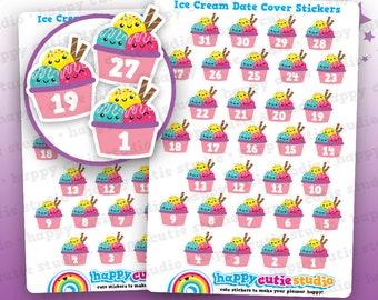 31 Cute Ice Cream/Summer/Date Cover Planner Stickers, Filofax, Erin Condren, Happy Planner,  Kawaii, Cute Sticker, UK