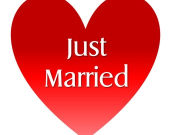Just Married Heart Car Magnet.