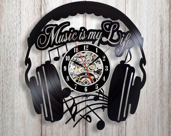Music wall clock, Vinyl record wall clock, Music quotes, Music gift, Music wall art, Headphones wall decal, Gift for music lover, Musician