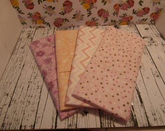Pink Burp Cloths set of 4