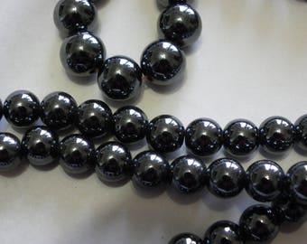 25 8 mm super shiny black hematite beads