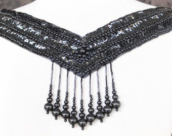 Cute  beaded and   embroidered  applique   black color  1 pieces listing
