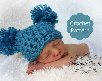 Pom Pom Hat Crochet Pattern -- 0-6 month size -- Sell what you make INSTANT DOWNLOAD