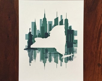 New York State Print - Turquoise Skyline