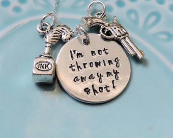 """Hamilton Necklace, """"I'm Not Throwing Away My Shot"""" Broadway Musical Lyrics, Handstamped, Sterling Silver and Aluminum, Hamilton Fan Gift"""