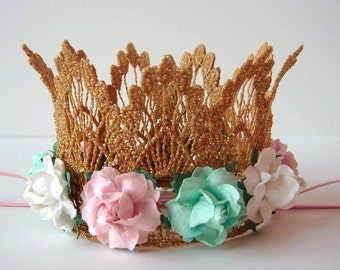 Gold Crown - Silver - Mint Green - Pink - Ivory Flowers - Mint and Pink Flower Baby Crown - Mint Pink Gold  - First Birthday - Cake Smash