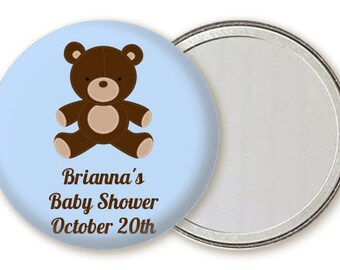 Teddy Bear Baby Shower Compact Mirror Favor - Personalized Custom Pocket Handbag Mirror Small  Party Gift