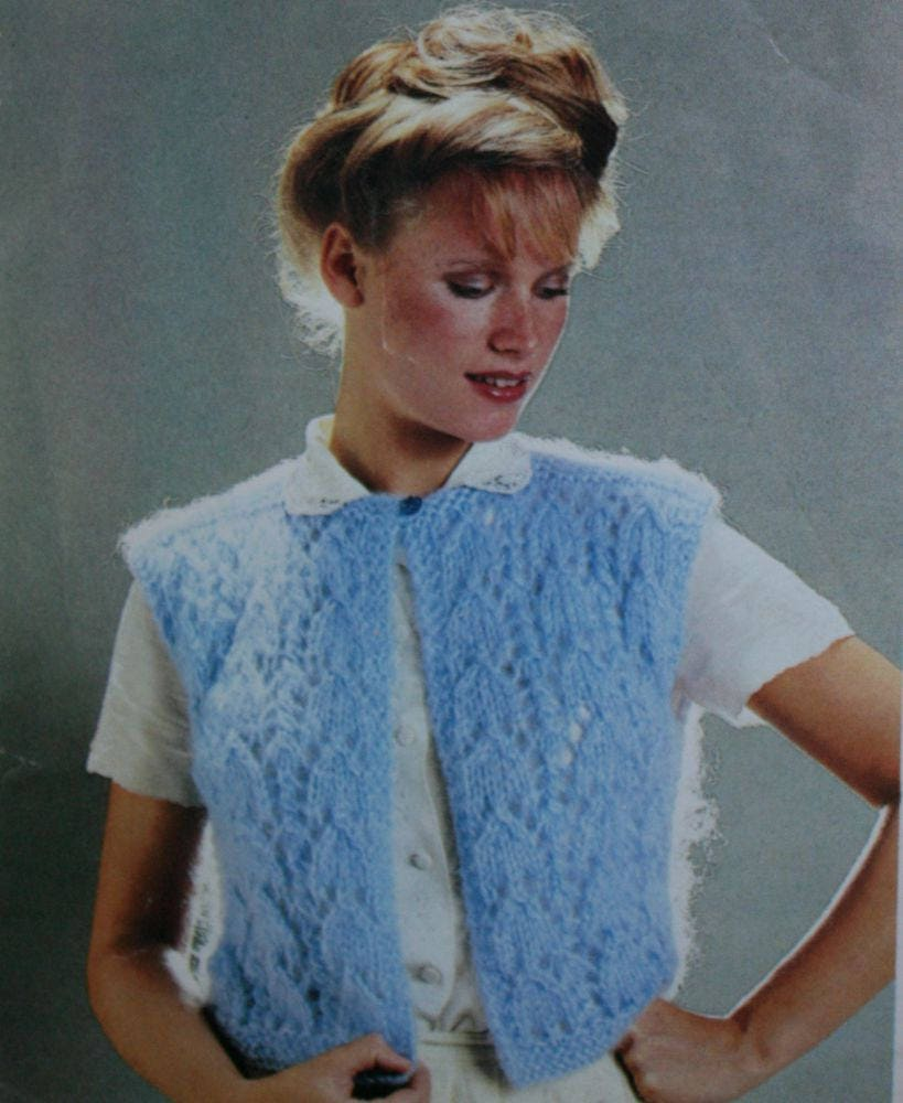 Vest Knitting Patterns Women Sirdar Waistcoat Slipover Chunky Weight ...