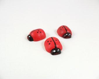 """Lady Bugs Wood 11/16"""" Long x 5/8"""" Wide 1/4"""" Thick (1.74cm x 1.58cm x 0.6cm) - 12 Pieces"""