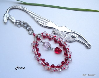 Unique Bookmark, Red and Pink Crystal Bookmark, Mermaid Bookmark, Beaded Bookmark, Metal Bookmark, Reading Accessories
