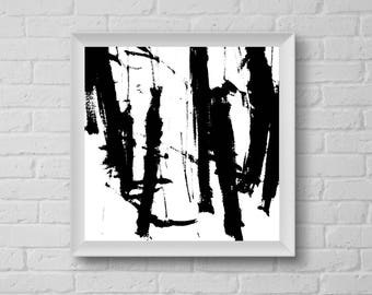 Black and White Abstract Printable - Minimalist Abstract Art - Modern Home Decor - Brushstrokes Art Print - Square Abstract Print, 8x8 10x10