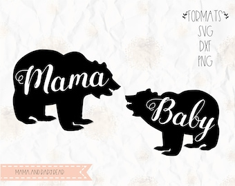 Mama Bear Baby SVG Layered PNG DXF Pdf Cricut Silhouette Studio Vinyl Decal T Shirt Design Scrapbookin Stencil Template