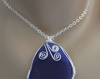 Large Genuine Deep Blue Sea Glass Wire Wrapped Pendant with Sterling Silver Chain, One Of A Kind Pendant, Beach Glass Pendant