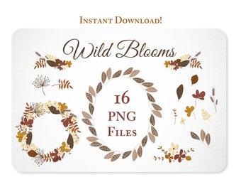 Hand Drawn Autumn Flower Wreaths, Garland and Leaves Design Elements