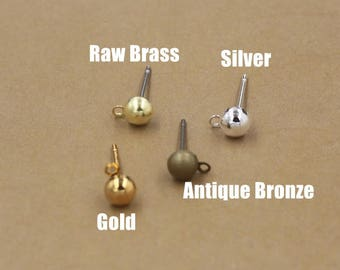 200PCS Brass Hollow Bead Earring Posts W/ Ring 5x12mm Raw Brass / Antique Bronze/ Gold/ Silver Plated Earrings Ear Studs Wholesale