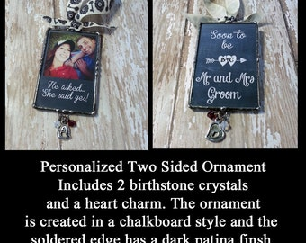 Picture Frame Ornament, Soldered Photo Ornament, She Said Yes, Personalized Christmas Gift, Holiday Decoration