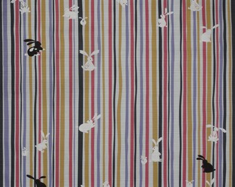 Furoshiki 'Bunny Rabbits on Stripes' Cotton Japanese Fabric 50cm w/Free Insured Shipping