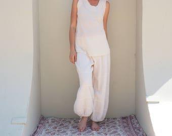 Natural Yoga Pants in CREAM // Flexible Waistband, Natural Fiber Gauze // Whole body breathes!
