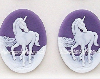 2 White Mythological UNICORN Unicorns on Purple Dark Lavender Background Cameos 40mm x 30mm Resin Cameo Lot Horse Equine for Costume Jewelry