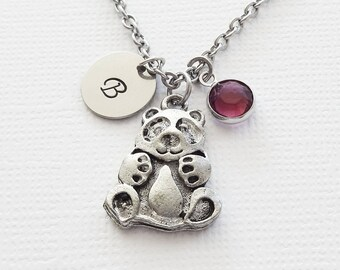 Panda Bear Necklace Antiqued Silver Pewter Initial Necklace Swarovski Channel Birthstone Personalized Monogram Hand Stamped Letter