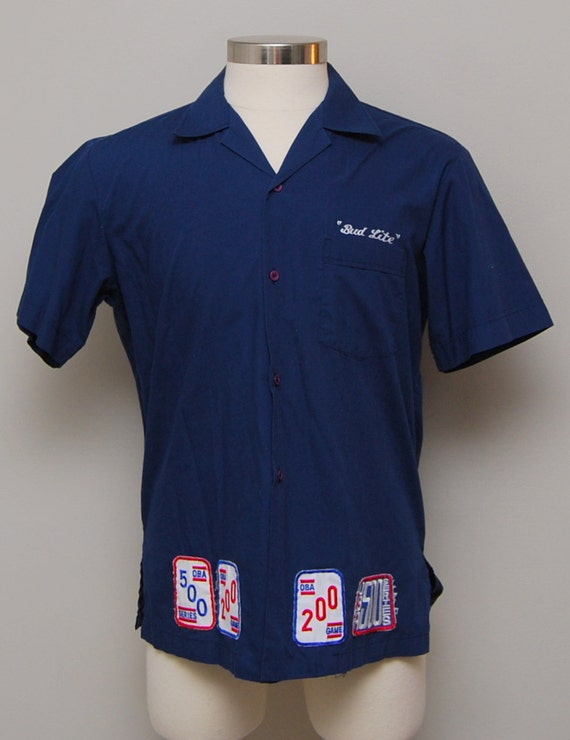 MENS SALE 1960s men's blue bowling shirt/ 60s men's blue bowling shirt/ Buds Brawlers d58NVP