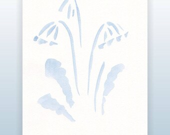 Subtle and light primula sketch. Blue watercolor. Minimalist flowers drawing. Floral illustration for wall decor.