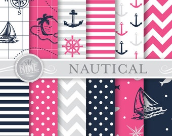 "NAUTICAL Digital Paper: ""Navy BLUE & PINK"" Seamless Pattern Prints, Instant Download, 12"" x 12"" Paper Pack Girl Patterns Scrapbook Print"