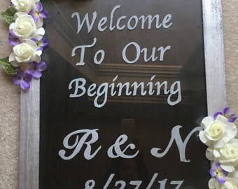 """Handmade Welcome Sign - """"Welcome to Our Beginning"""""""
