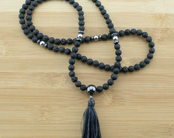Lava Rock Mala Necklace with Hematite | 8mm | 108 Buddhist Meditation Prayer Beads with Tassel | Free Shipping