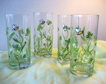 Set of four shamrock glasses, wildflower, clover, St Patrick's Day.