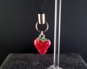 Red strawberry Charm on lanyard zipper pull