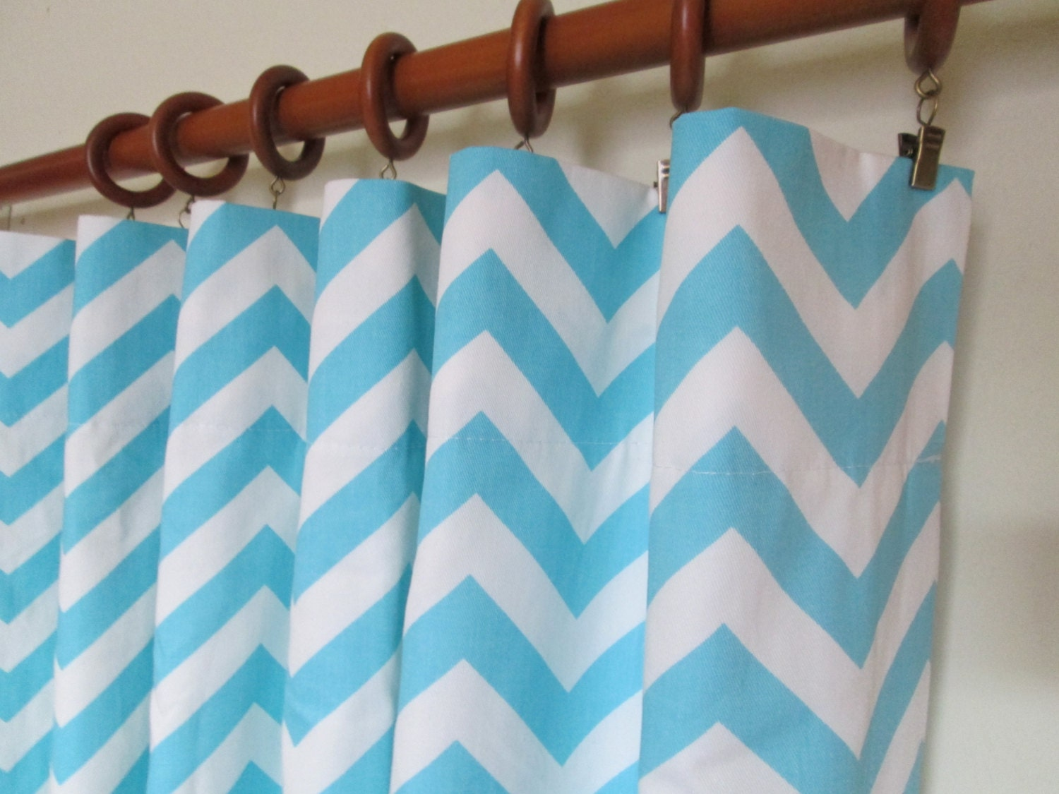 Pair of 50 wide baby blue and white chevron curtain