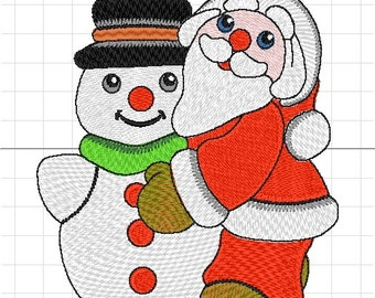 Santa Claus with snowman embroidery machine