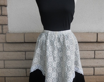 Vintage 70s Black Velvet and Lace Skirt by Little House Creations Size Medium