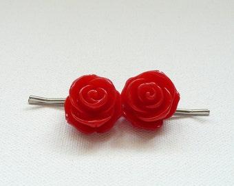 nhp-Red Rose Hair Pins