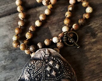 Essential Oil Elephant Beaded Necklace